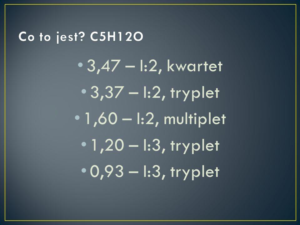3,47 – I:2, kwartet 3,37 – I:2, tryplet 1,60 – I:2, multiplet 1,20 – I:3, tryplet 0,93 – I:3, tryplet