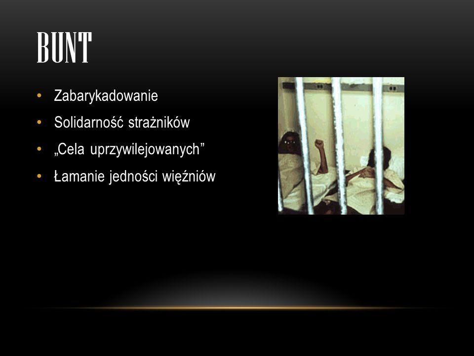 BUNT Zabarykadowanie Solidarność strażników Cela uprzywilejowanych Łamanie jedności więźniów