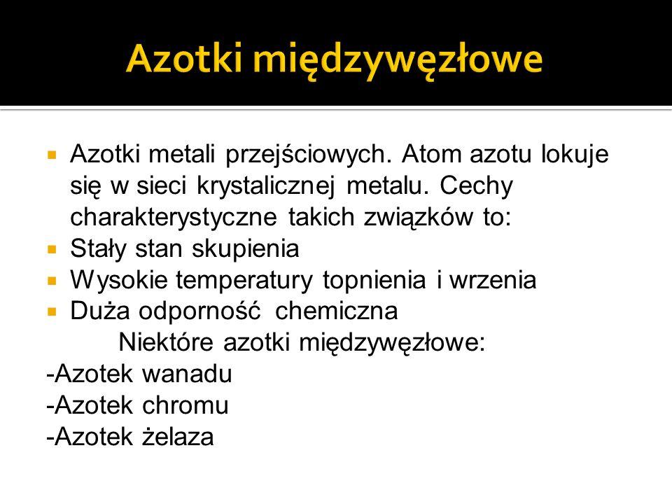 Azotki metali przejściowych.Atom azotu lokuje się w sieci krystalicznej metalu.