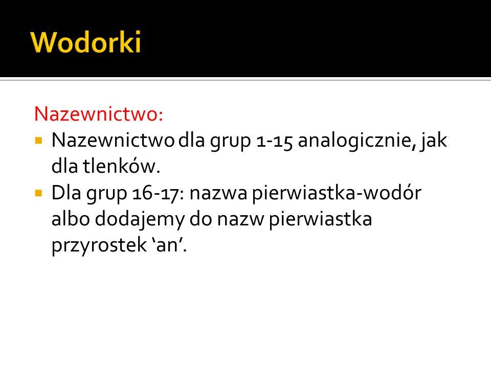 Nazewnictwo: Nazewnictwo dla grup 1-15 analogicznie, jak dla tlenków.