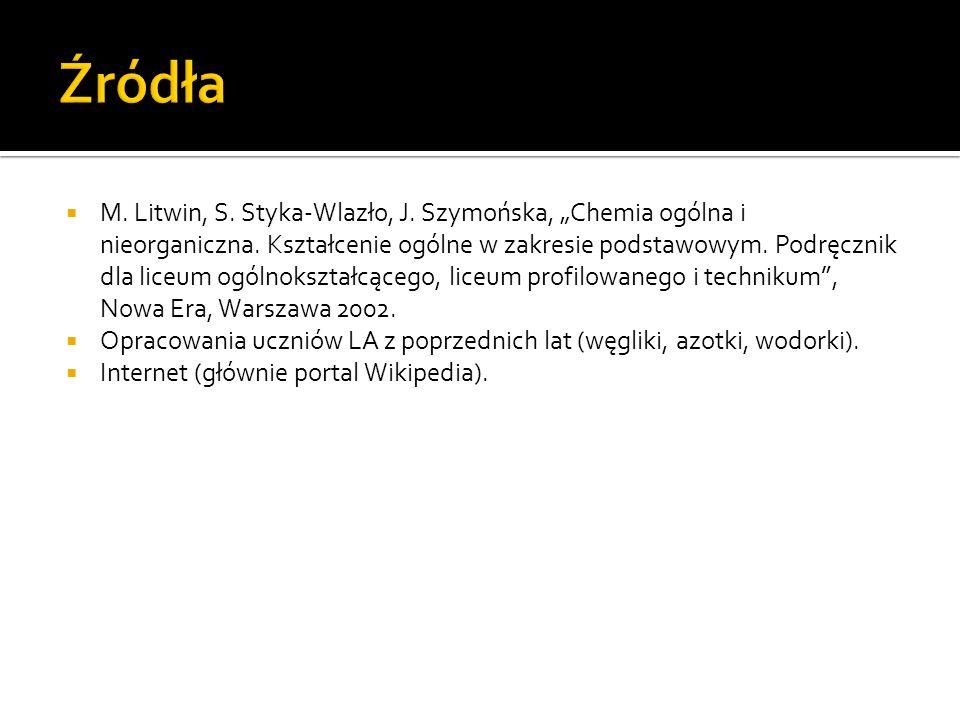 M.Litwin, S. Styka-Wlazło, J. Szymońska, Chemia ogólna i nieorganiczna.