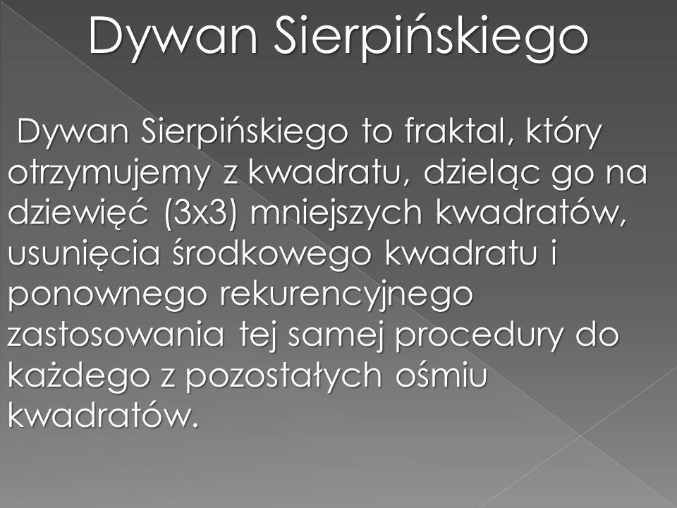 Dywan Sierpińskiego Dywan Sierpińskiego to fraktal, który otrzymujemy z kwadratu, dzieląc go na dziewięć (3x3) mniejszych kwadratów, usunięcia środkow