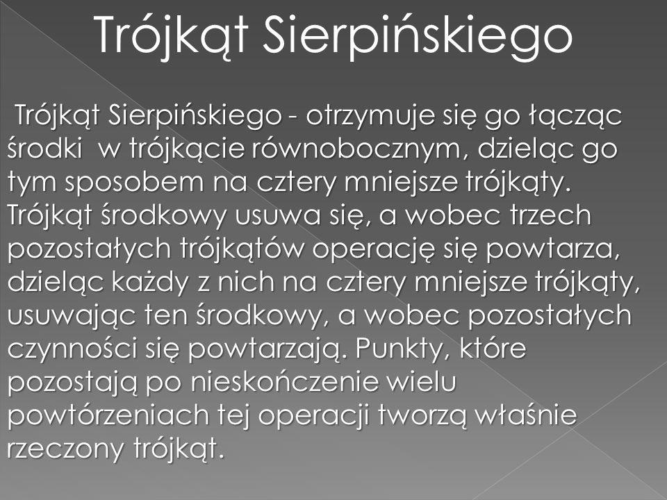 Trójkąt Sierpińskiego Trójkąt Sierpińskiego - otrzymuje się go łącząc środki w trójkącie równobocznym, dzieląc go tym sposobem na cztery mniejsze trój