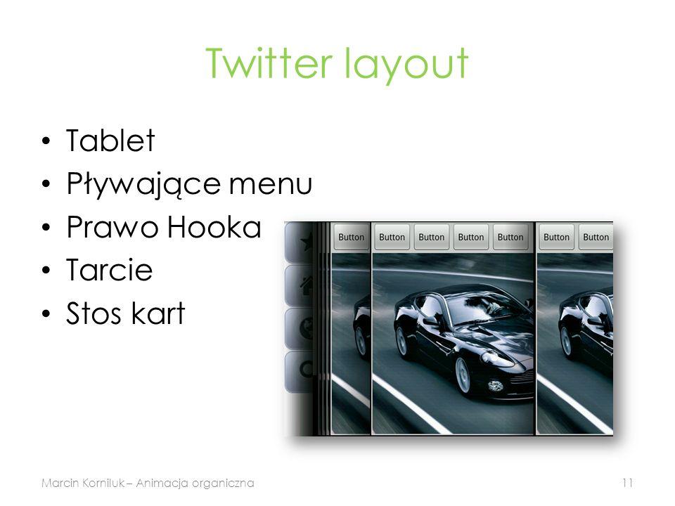 Twitter layout Tablet Pływające menu Prawo Hooka Tarcie Stos kart Marcin Korniluk – Animacja organiczna11