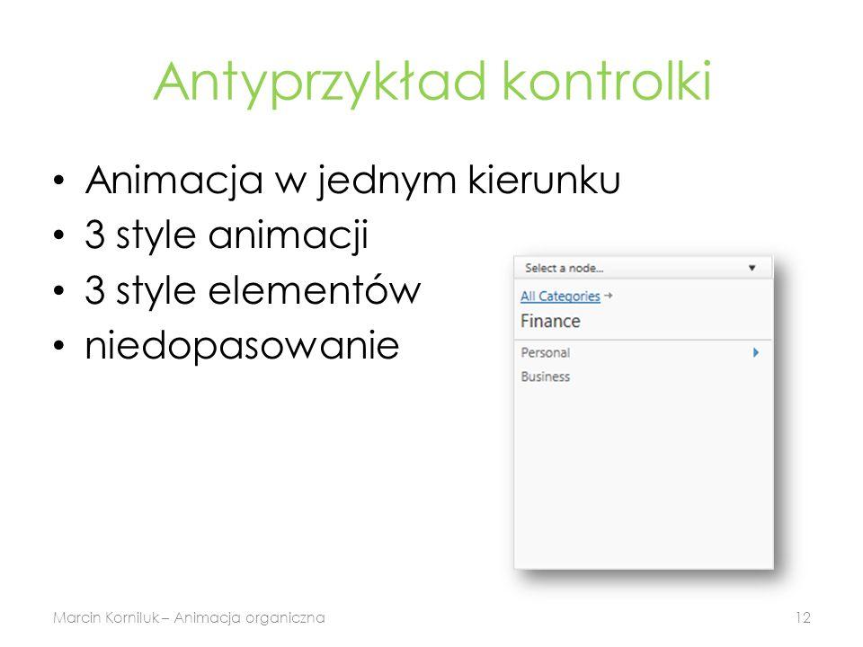 Antyprzykład kontrolki Animacja w jednym kierunku 3 style animacji 3 style elementów niedopasowanie Marcin Korniluk – Animacja organiczna12