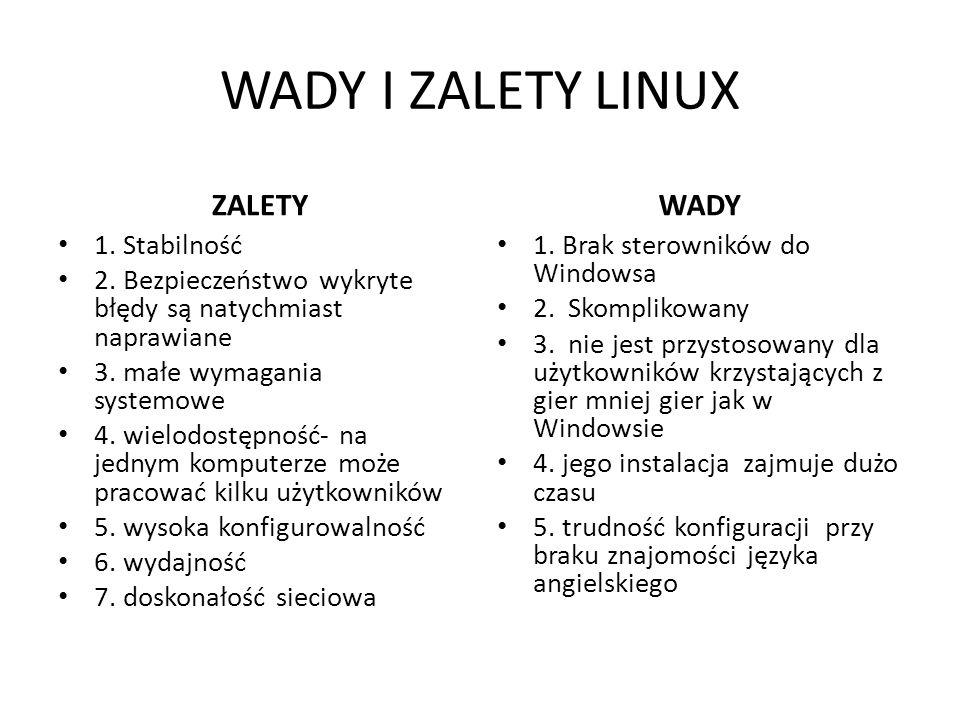WADY I ZALETY LINUX ZALETY 1.Stabilność 2.