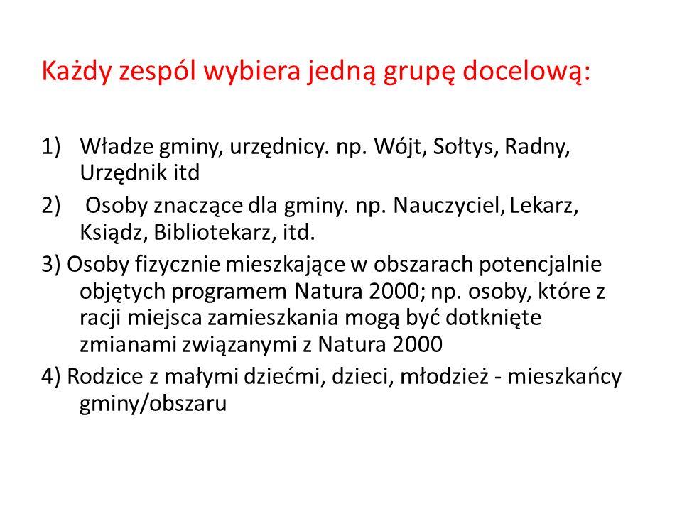 Każdy zespól wybiera jedną grupę docelową: 1)Władze gminy, urzędnicy.