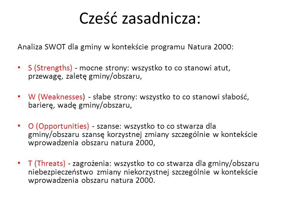 Cześć zasadnicza: Analiza SWOT dla gminy w kontekście programu Natura 2000: S (Strengths) - mocne strony: wszystko to co stanowi atut, przewagę, zaletę gminy/obszaru, W (Weaknesses) - słabe strony: wszystko to co stanowi słabość, barierę, wadę gminy/obszaru, O (Opportunities) - szanse: wszystko to co stwarza dla gminy/obszaru szansę korzystnej zmiany szczególnie w kontekście wprowadzenia obszaru natura 2000, T (Threats) - zagrożenia: wszystko to co stwarza dla gminy/obszaru niebezpieczeństwo zmiany niekorzystnej szczególnie w kontekście wprowadzenia obszaru natura 2000.
