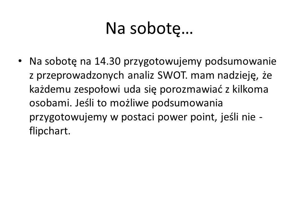 Na sobotę… Na sobotę na 14.30 przygotowujemy podsumowanie z przeprowadzonych analiz SWOT. mam nadzieję, że każdemu zespołowi uda się porozmawiać z kil