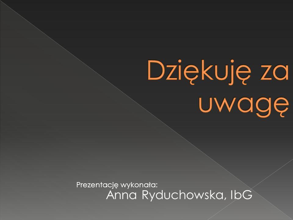 Anna Ryduchowska, IbG Prezentację wykonała: