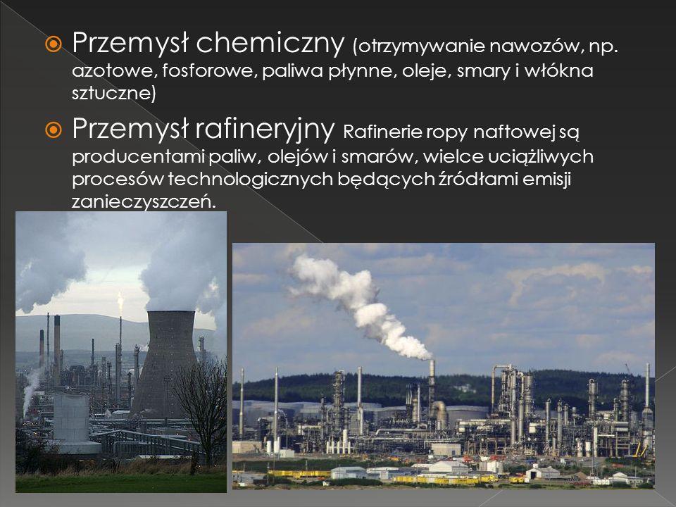 Przemysł chemiczny (otrzymywanie nawozów, np. azotowe, fosforowe, paliwa płynne, oleje, smary i włókna sztuczne) Przemysł rafineryjny Rafinerie ropy n