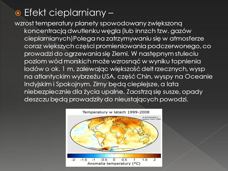 Efekt cieplarniany – wzrost temperatury planety spowodowany zwiększoną koncentracją dwutlenku węgla (lub innzch tzw. gazów cieplarnianych)Polega na za