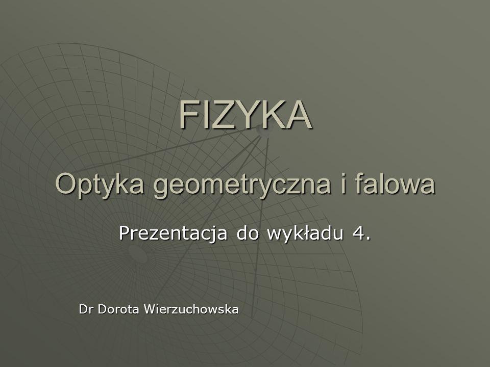 FIZYKA Optyka geometryczna i falowa Prezentacja do wykładu 4. Dr Dorota Wierzuchowska