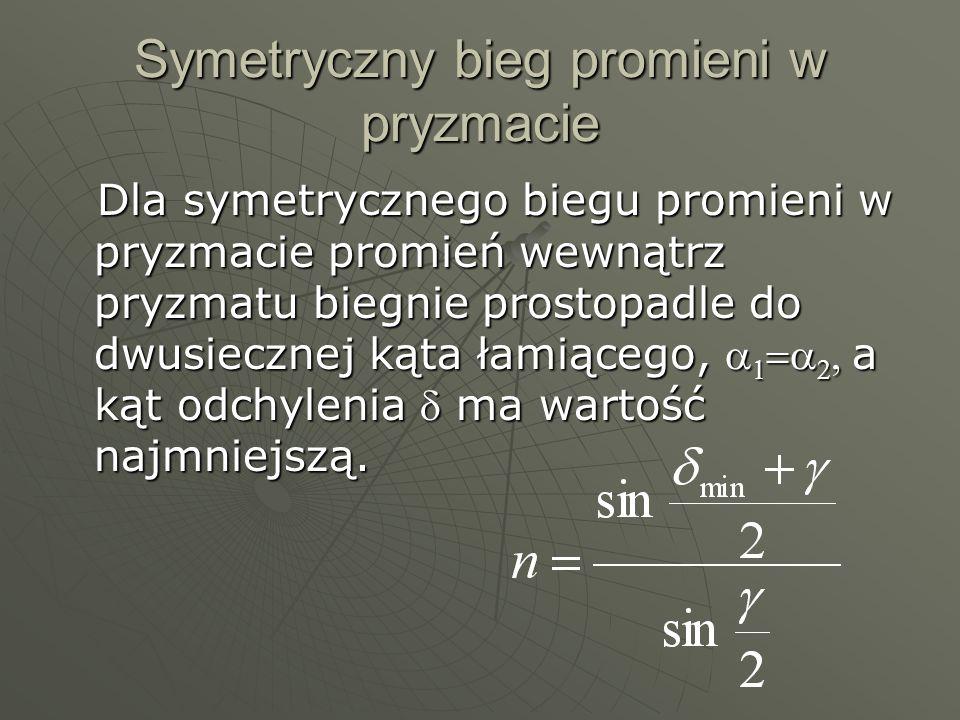 Symetryczny bieg promieni w pryzmacie Dla symetrycznego biegu promieni w pryzmacie promień wewnątrz pryzmatu biegnie prostopadle do dwusiecznej kąta ł