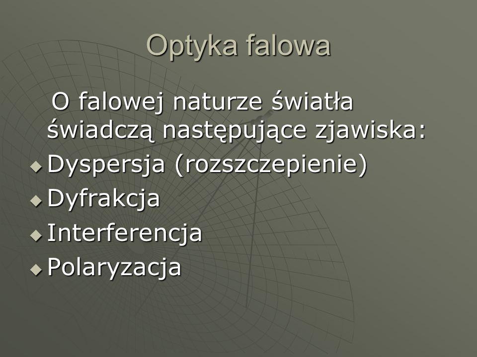 Optyka falowa O falowej naturze światła świadczą następujące zjawiska: O falowej naturze światła świadczą następujące zjawiska: Dyspersja (rozszczepie