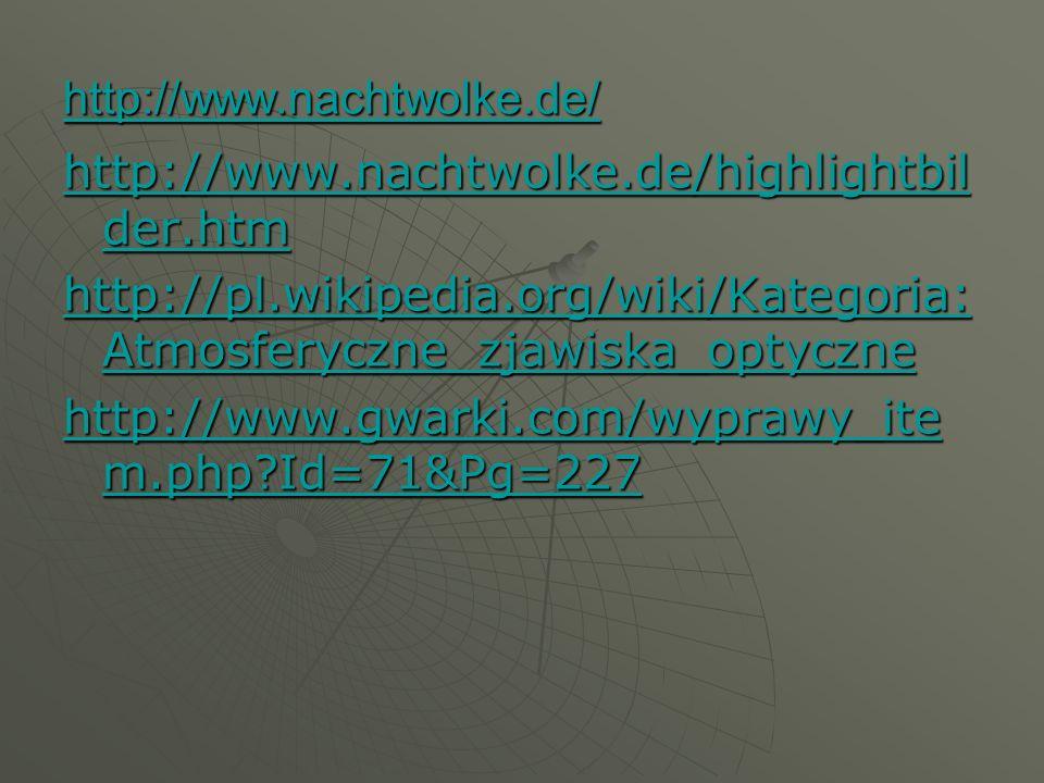 http://www.nachtwolke.de/highlightbil der.htm http://www.nachtwolke.de/highlightbil der.htm http://pl.wikipedia.org/wiki/Kategoria: Atmosferyczne_zjaw