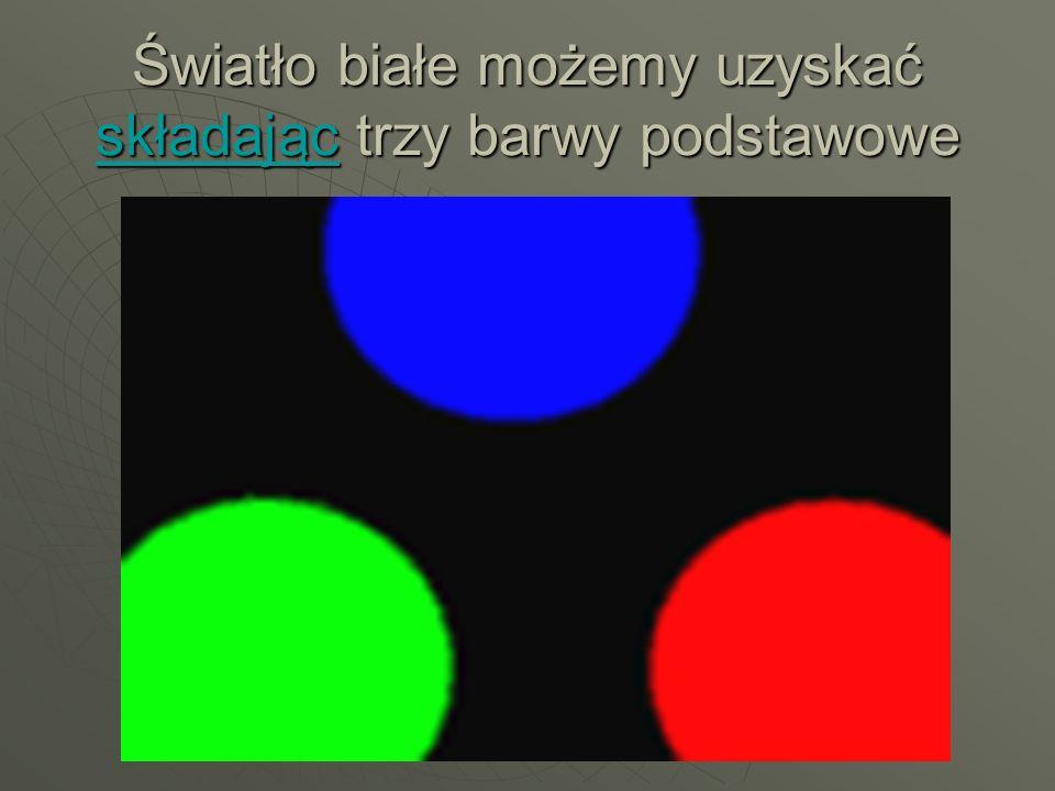 Światło białe możemy uzyskać składając trzy barwy podstawowe składając