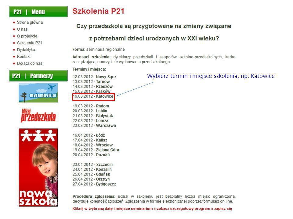 Wybierz termin i miejsce szkolenia, np. Katowice