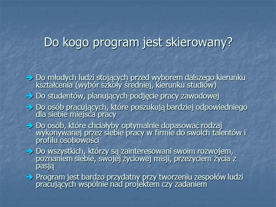 Do kogo program jest skierowany.