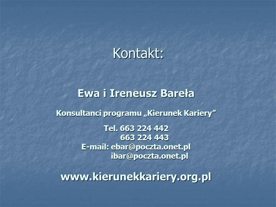 Kontakt: Ewa i Ireneusz Bareła Konsultanci programu Kierunek Kariery Tel.