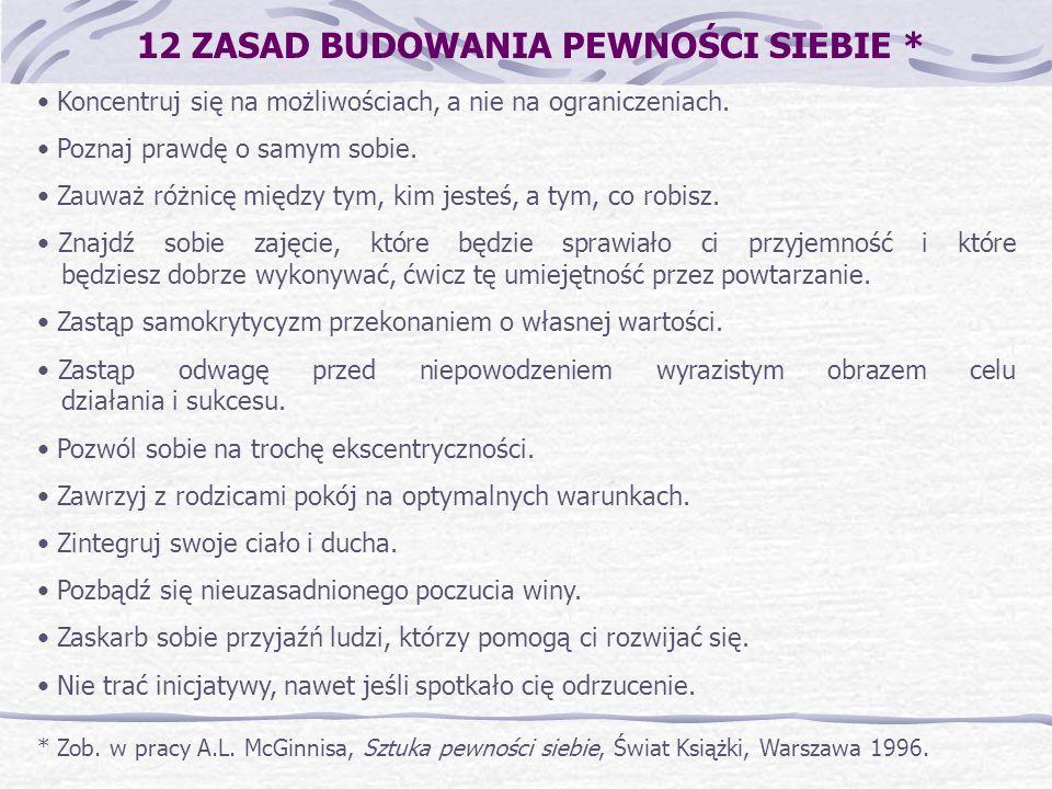 12 ZASAD BUDOWANIA PEWNOŚCI SIEBIE * * Zob. w pracy A.L. McGinnisa, Sztuka pewności siebie, Świat Książki, Warszawa 1996. Koncentruj się na możliwości