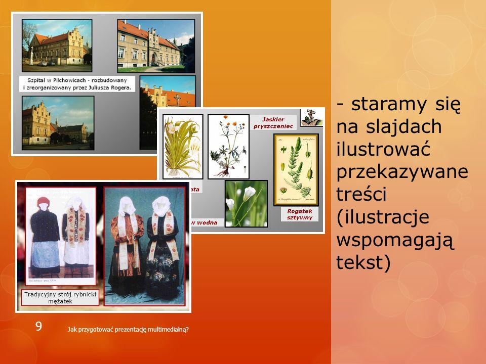 - prezentacja multimedialna składająca się jedynie z wrzuconego na slajdy tekstu naszego wystąpienia, bez ilustracji – nie jest dobrą prezentacją Jak przygotować prezentację multimedialną.