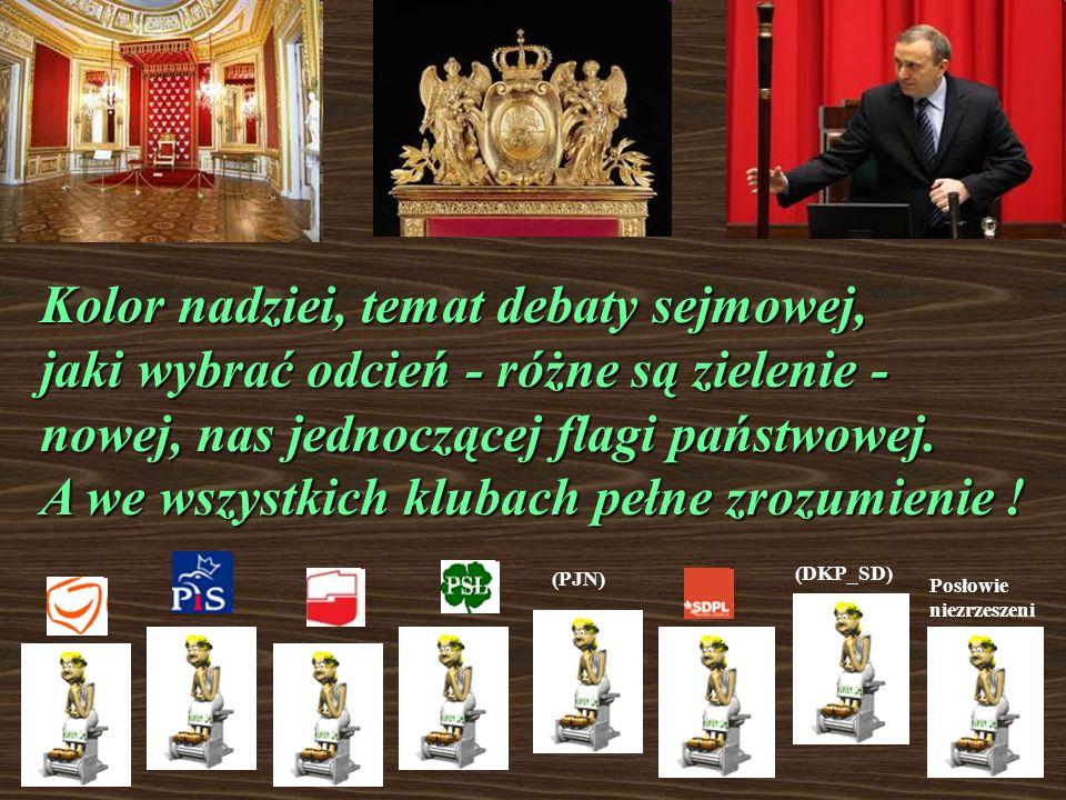 Na tle Zamku Królewskiego w Krakowie zobaczyłem flagę, całą w zieleni. W sali tronowej siedzieli posłowie pełni majestatu - bo już nie skłóceni ! pełn