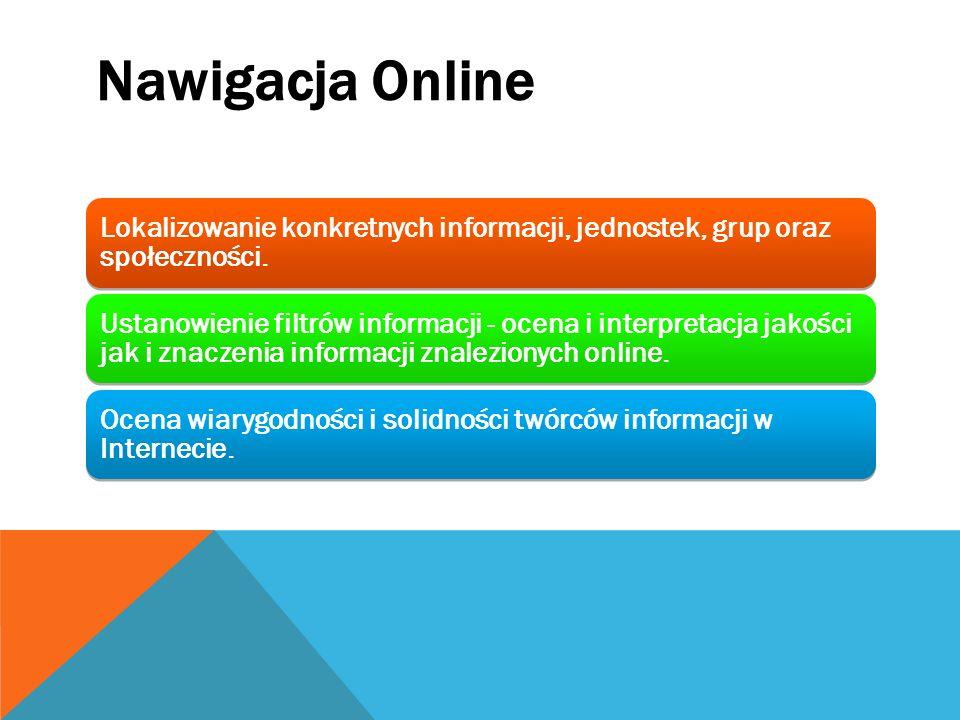 Lokalizowanie konkretnych informacji, jednostek, grup oraz społeczności. Ustanowienie filtrów informacji - ocena i interpretacja jakości jak i znaczen