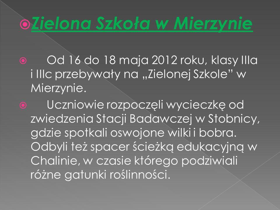 Zielona Szkoła w Mierzynie Od 16 do 18 maja 2012 roku, klasy IIIa i IIIc przebywały na Zielonej Szkole w Mierzynie.