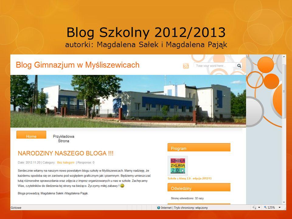 Blog Szkolny 2012/2013 autorki: Magdalena Sałek i Magdalena Pająk