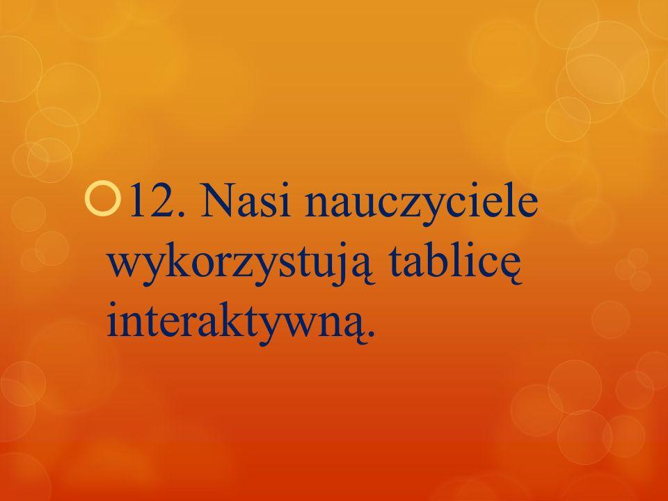 12. Nasi nauczyciele wykorzystują tablicę interaktywną.