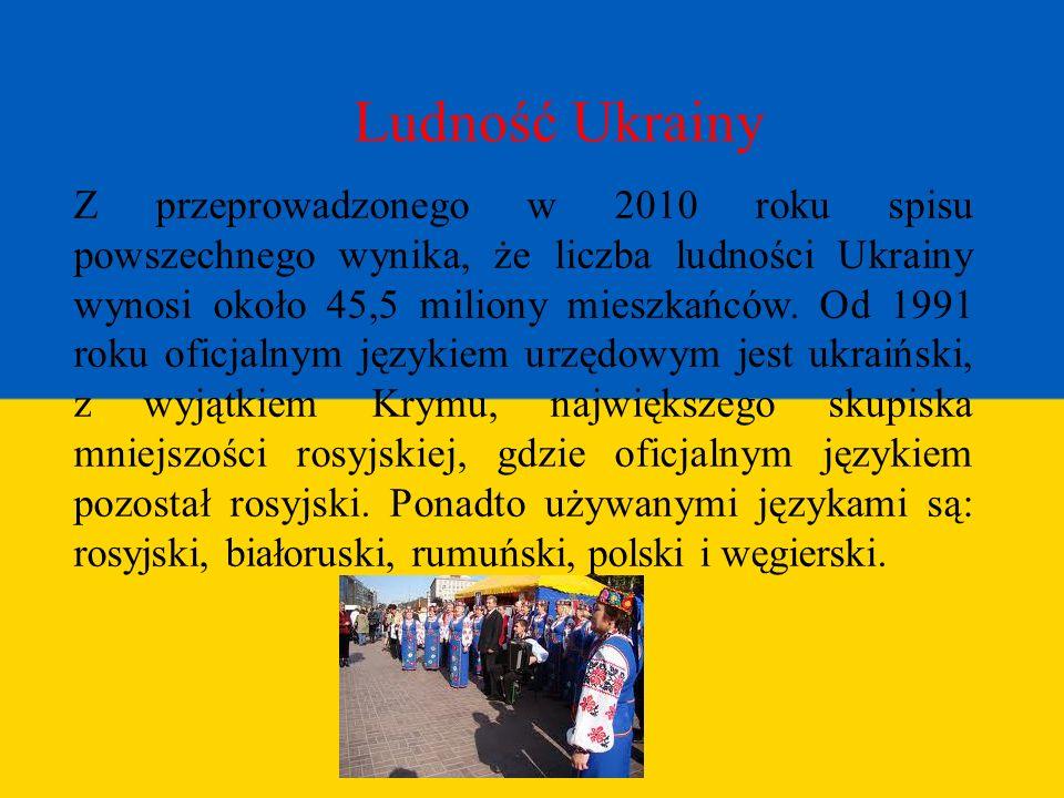 Ludność Ukrainy Z przeprowadzonego w 2010 roku spisu powszechnego wynika, że liczba ludności Ukrainy wynosi około 45,5 miliony mieszkańców. Od 1991 ro