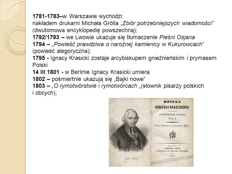 1781-1783–w Warszawie wychodzi nakładem drukarni Michała Grölla Zbiór potrzebniejszych wiadomości (dwutomowa encyklopedię powszechną); 1792/1793 – we
