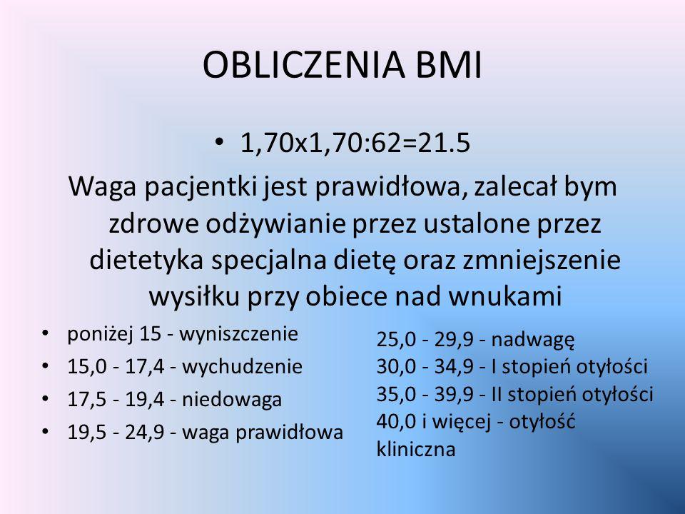 OBLICZENIA BMI 1,70x1,70:62=21.5 Waga pacjentki jest prawidłowa, zalecał bym zdrowe odżywianie przez ustalone przez dietetyka specjalna dietę oraz zmniejszenie wysiłku przy obiece nad wnukami poniżej 15 - wyniszczenie 15,0 - 17,4 - wychudzenie 17,5 - 19,4 - niedowaga 19,5 - 24,9 - waga prawidłowa 25,0 - 29,9 - nadwagę 30,0 - 34,9 - I stopień otyłości 35,0 - 39,9 - II stopień otyłości 40,0 i więcej - otyłość kliniczna