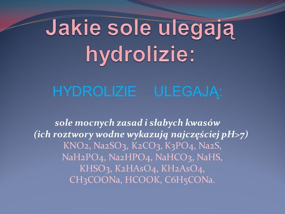 sole mocnych kwasów i słabych zasad (ich roztwory wodne wykazują pH<7) NH4Cl, NH4Br, NH4I, NH4NO3, (NH4)2SO4, Fe2(SO4)3, AlCl3, ZnSO4, NiBr2, Fe(NO3)2.