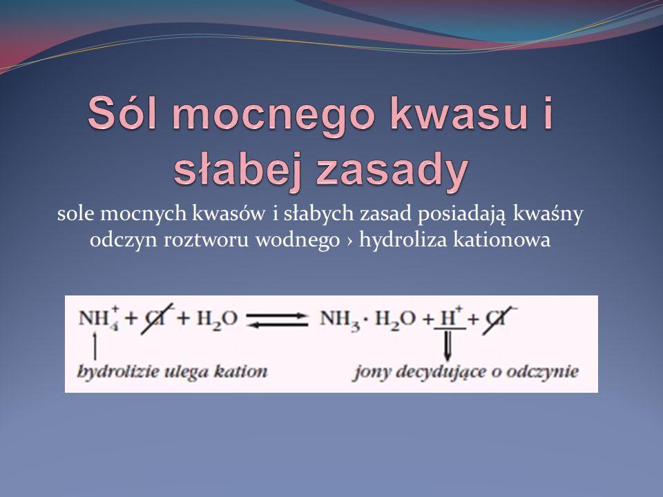sole mocnych zasad i słabych kwasów posiadają zasadowy odczyn roztworu wodnego hydroliza anionowa