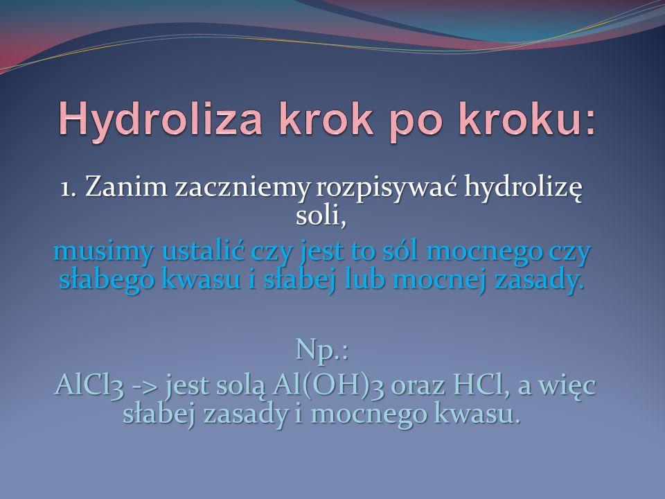 1. Zanim zaczniemy rozpisywać hydrolizę soli, musimy ustalić czy jest to sól mocnego czy słabego kwasu i słabej lub mocnej zasady. Np.: AlCl3 -> jest