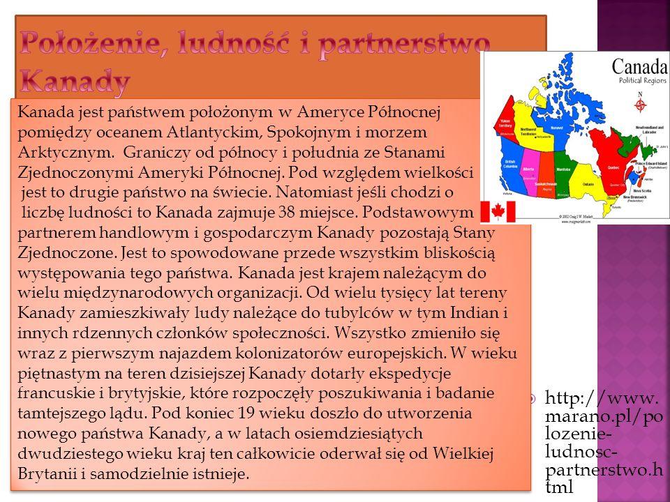 http://www. marano.pl/po lozenie- ludnosc- partnerstwo.h tml Kanada jest państwem położonym w Ameryce Północnej pomiędzy oceanem Atlantyckim, Spokojny