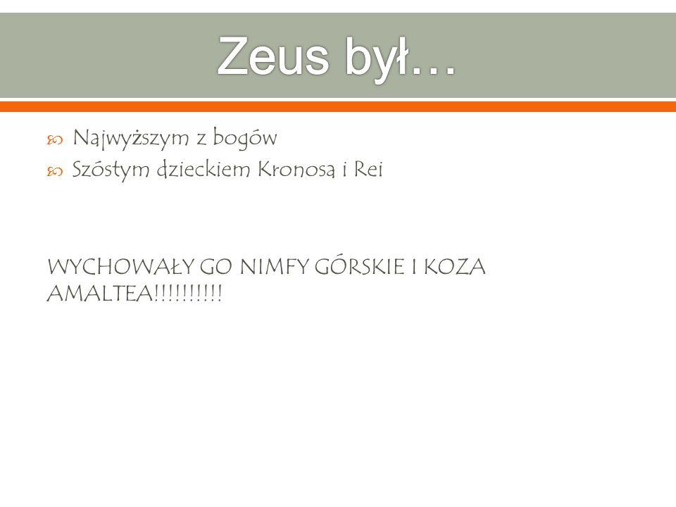 Najwy ż szym z bogów Szóstym dzieckiem Kronosa i Rei WYCHOWAŁY GO NIMFY GÓRSKIE I KOZA AMALTEA!!!!!!!!!!