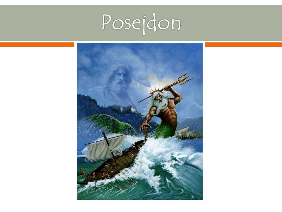 Był bogiem mórz, trzęsień ziemi, żeglarzy, rybaków Był jednym z dwunastu bogów olimpijskich Był synem Kronosa i Rei Poświęcone mu zwierzęta to delfin i byk, a jego świętym drzewem była sosna