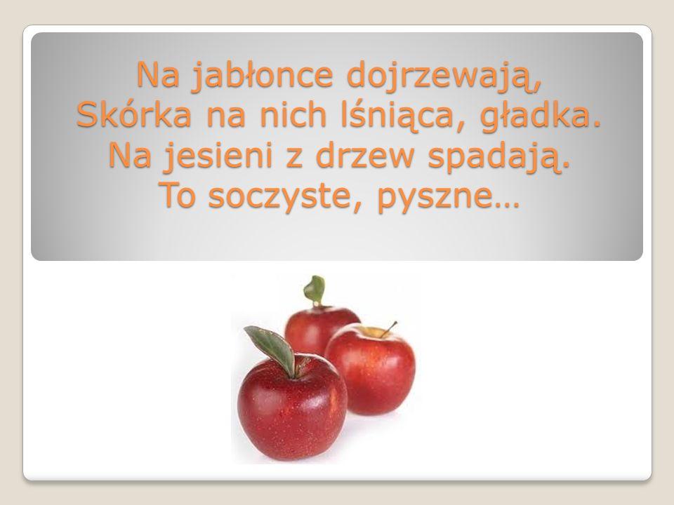 Na jabłonce dojrzewają, Skórka na nich lśniąca, gładka. Na jesieni z drzew spadają. To soczyste, pyszne…