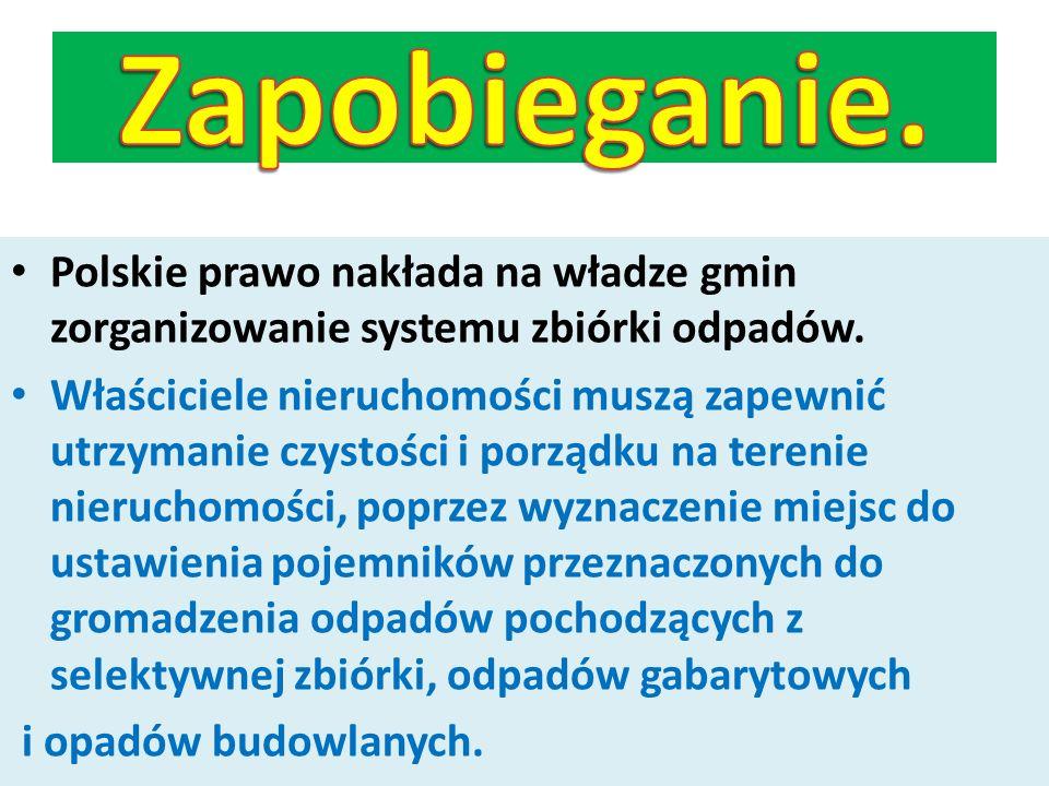Polskie prawo nakłada na władze gmin zorganizowanie systemu zbiórki odpadów. Właściciele nieruchomości muszą zapewnić utrzymanie czystości i porządku