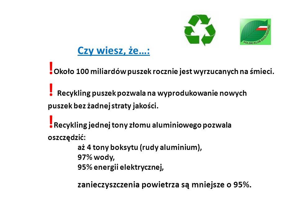 Czy wiesz, że…: ! Około 100 miliardów puszek rocznie jest wyrzucanych na śmieci. ! Recykling puszek pozwala na wyprodukowanie nowych puszek bez żadnej