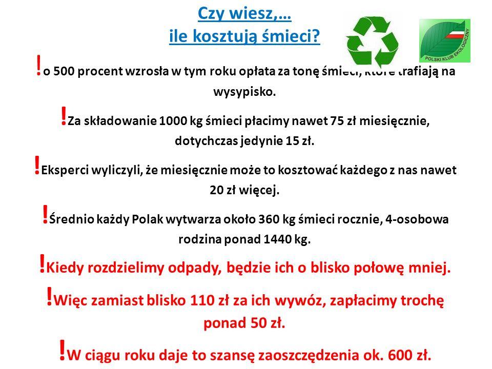 Czy wiesz,… ile kosztują śmieci? ! o 500 procent wzrosła w tym roku opłata za tonę śmieci, które trafiają na wysypisko. ! Za składowanie 1000 kg śmiec