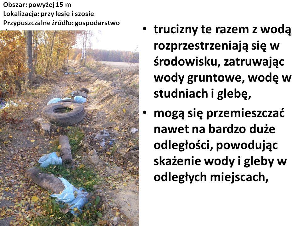 Obszar: powyżej 15 m Lokalizacja: przy lesie i szosie Przypuszczalne źródło: gospodarstwo domowe trucizny te razem z wodą rozprzestrzeniają się w środ