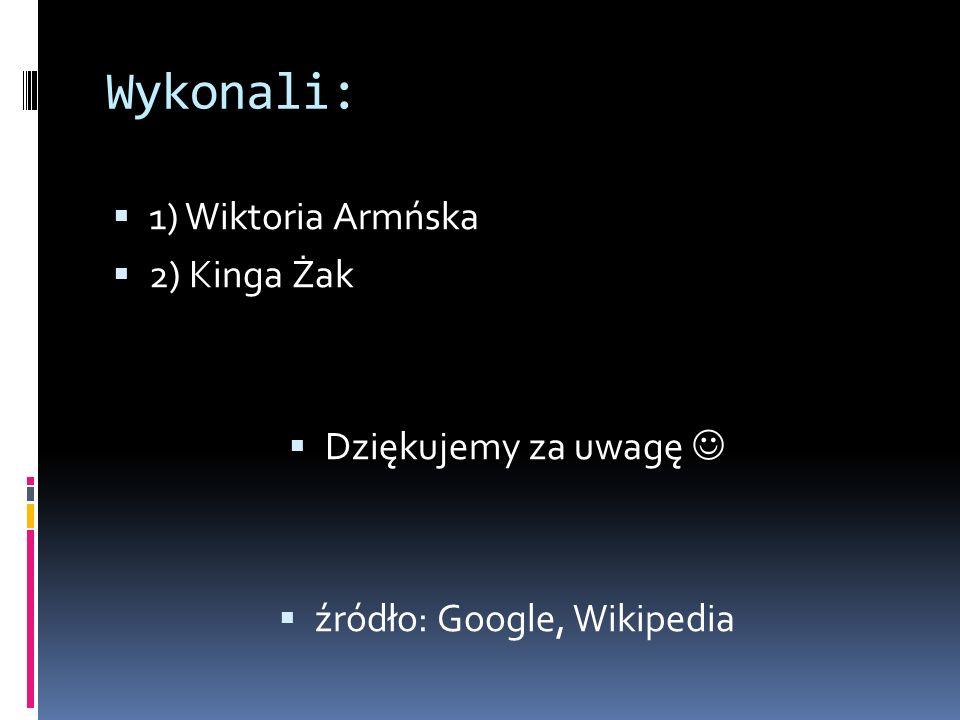 Wykonali: 1) Wiktoria Armńska 2) Kinga Żak Dziękujemy za uwagę źródło: Google, Wikipedia