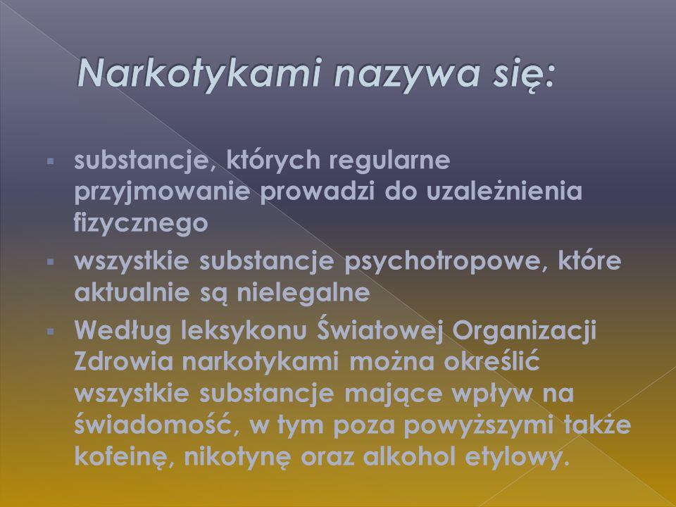 substancje, których regularne przyjmowanie prowadzi do uzależnienia fizycznego wszystkie substancje psychotropowe, które aktualnie są nielegalne Wedłu