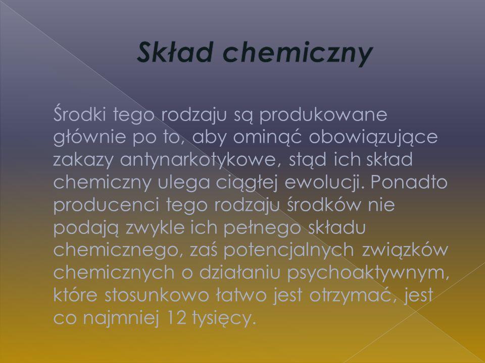 środki pochodzenia głównie roślinnego (susze, kadzidełka) środki pochodzenia głównie syntetycznego, sprzedawane w formie tabletek (tzw.