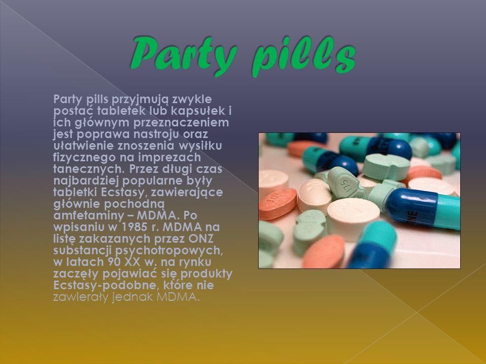 Party pills przyjmują zwykle postać tabletek lub kapsułek i ich głównym przeznaczeniem jest poprawa nastroju oraz ułatwienie znoszenia wysiłku fizyczn