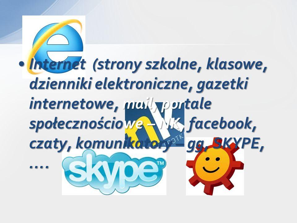 Internet (strony szkolne, klasowe, dzienniki elektroniczne, gazetki internetowe, mail, portale społecznościowe – NK, facebook, czaty, komunikatory – gg, SKYPE, ….Internet (strony szkolne, klasowe, dzienniki elektroniczne, gazetki internetowe, mail, portale społecznościowe – NK, facebook, czaty, komunikatory – gg, SKYPE, ….